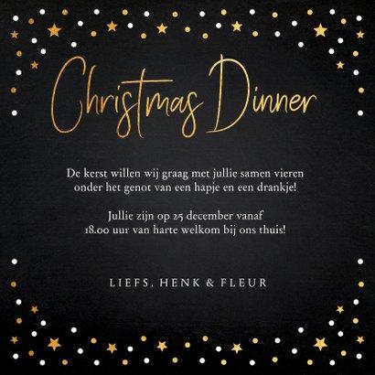 Kerstdiner uitnodiging fotocollage zwart goudlook confetti 3