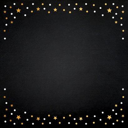 Kerstdiner uitnodiging fotocollage zwart goudlook confetti Achterkant