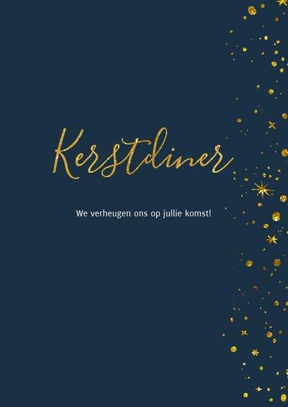 Kerstdiner uitnodiging Goud Sterren nacht 3