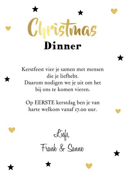 Kerstdiner uitnodiging labelprint goudlook 3