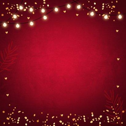 Kerstdiner uitnodiging rood confetti goudlook 2