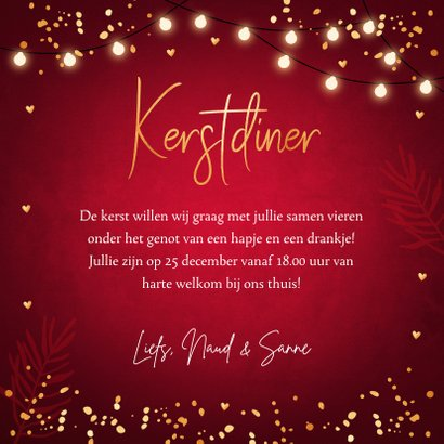 Kerstdiner uitnodiging rood confetti goudlook 3