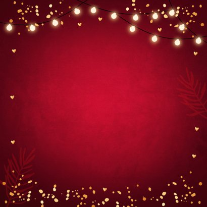 Kerstdiner uitnodiging rood confetti goudlook Achterkant