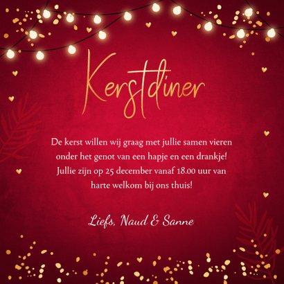 Kerstdiner uitnodiging rood lampjes goudlook 3