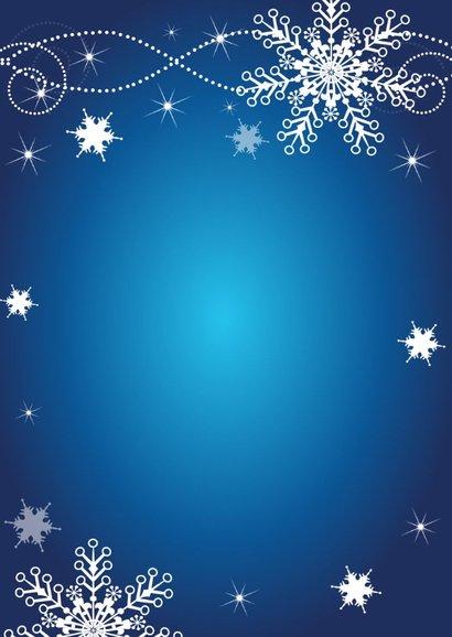 Kerstdiner uitnodiging sneeuwvlokken blauw 2
