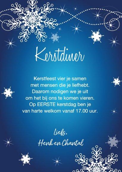 Kerstdiner uitnodiging sneeuwvlokken blauw 3