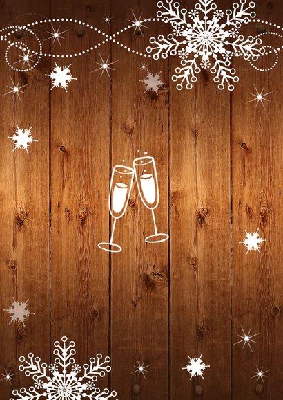 Kerstdiner uitnodiging sneeuwvlokken houtlook 2