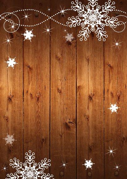 Kerstdiner uitnodiging sneeuwvlokken houtlook Achterkant