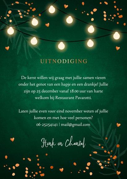 Kerstdiner uitnodiging donkergroen koper 3