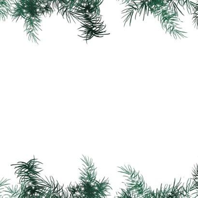 Kerstkaart 2020-2021 eenvoudig met kersttakjes lichtjes Achterkant