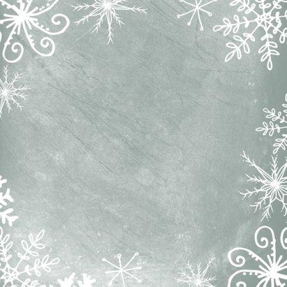 Kerstkaart 2020-2021, foto groot met kader van kristallen Achterkant
