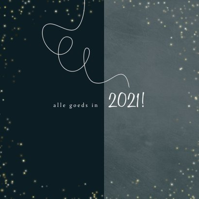 Kerstkaart 2020-2021 stijlvol gouden sterretjes en slinger 3