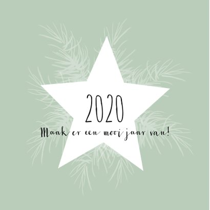 Kerstkaart 2020, ster en takjes-IP 2