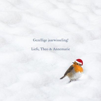 Kerstkaart 2021 houtprint in de sneeuw 3