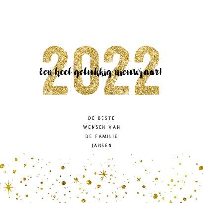 Kerstkaart 2022 Goud Glitter groot 3