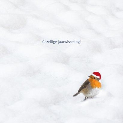Kerstkaart 2022 houtprint in de sneeuw met roodborst 3