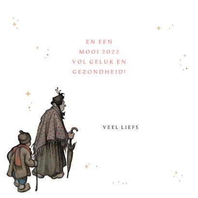 Kerstkaart - Anton Pieck illustratie avond op winters plein 3