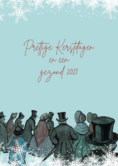 Kerstkaart - Anton Pieck illustratie op weg naar de avondmis 2