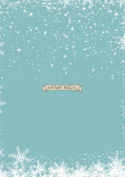 Kerstkaart - Anton Pieck illustratie op weg naar de avondmis Achterkant