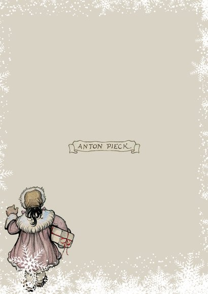 Kerstkaart - Anton Pieck illustratie voor de bakkerij Achterkant