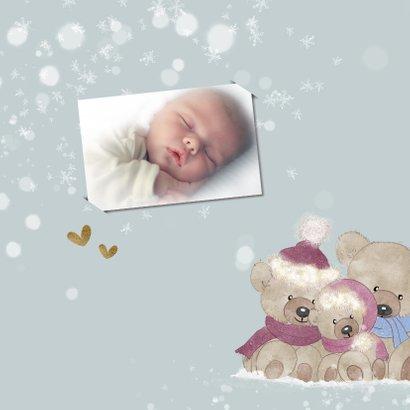 Kerstkaart beren in de sneeuw-baby's 1ste kerst 2