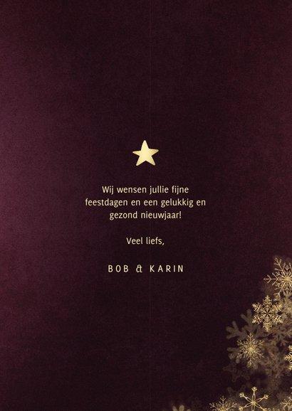 Kerstkaart best wishes bordeaux met gouden kader 3