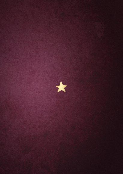 Kerstkaart best wishes bordeaux met gouden kader Achterkant