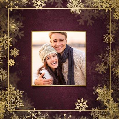 Kerstkaart best wishes bordeaux met goudlook kader 2