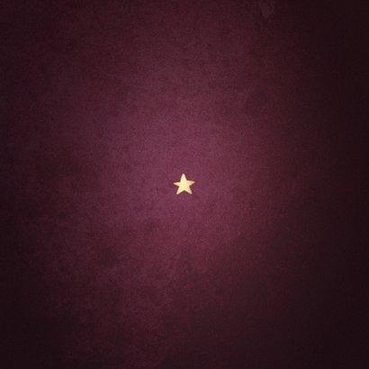 Kerstkaart best wishes bordeaux met goudlook kader Achterkant