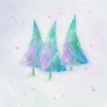 Kerstkaart blauw-groen-paars aquarel kerstbomen 2