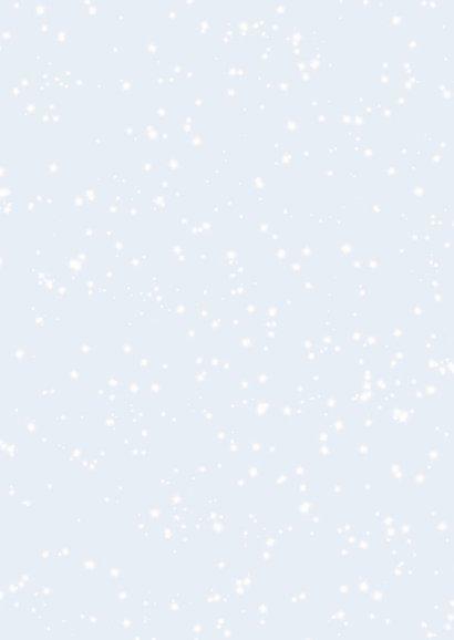 Kerstkaart boom, hertjes en roodborst in de sneeuw Achterkant