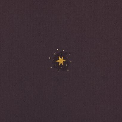 Kerstkaart bordeaux met sterren, foto en fijne feestdagen Achterkant