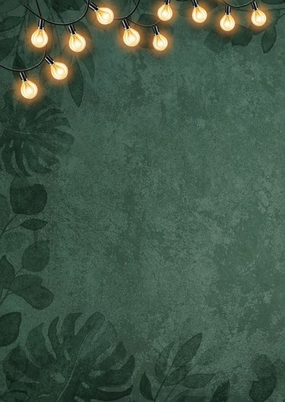 Kerstkaart botanisch groen goud lampjes foto jungle 2