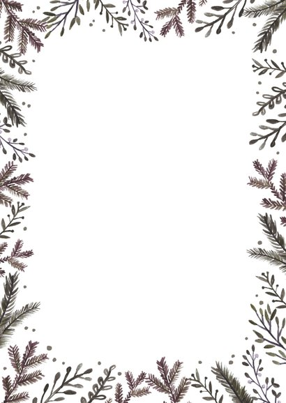 Kerstkaart botanisch Achterkant