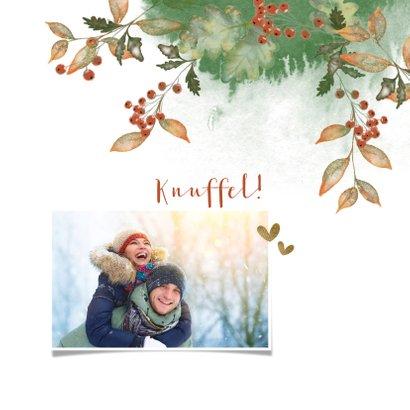 Kerstkaart botanische illustratie met foto 2