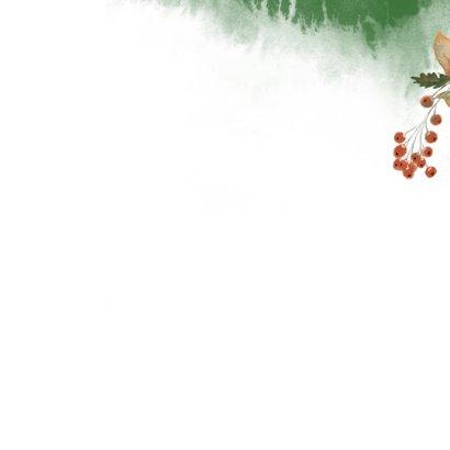 Kerstkaart botanische illustratie met foto Achterkant