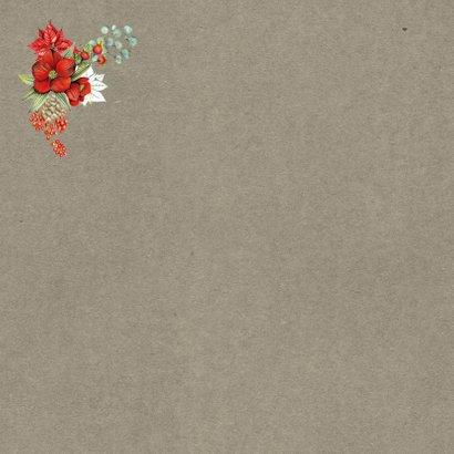 Kerstkaart botanische kerstbloemen Achterkant