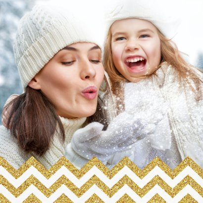 Kerstkaart chevron goud kerstbal met eigen foto binnenzijde 2