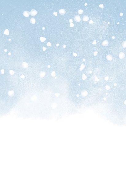 Kerstkaart christelijk Holy Night met waterverf en sneeuw Achterkant