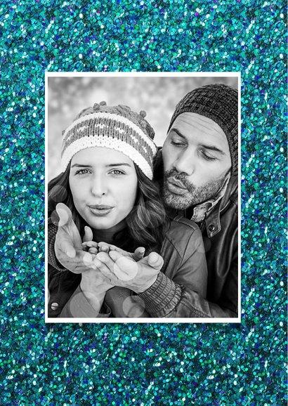 Kerstkaart confetti blauw kerst 2