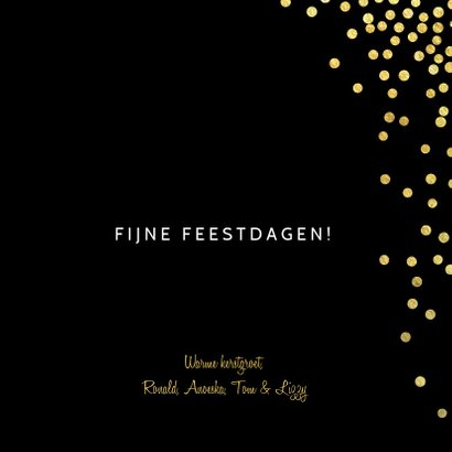 Kerstkaart confetti goud zwart 3