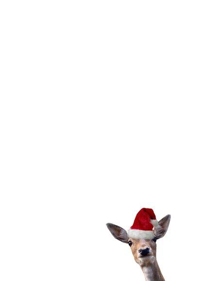 Kerstkaart Corona - de wereld op de kop met hert Achterkant
