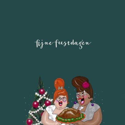 Kerstkaart Dames met kalkoen 3