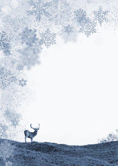 Kerstkaart damherten in duinlandschap Achterkant