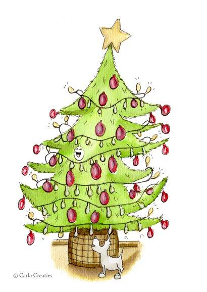 Kerstkaart de boom wordt opgetuigd 2
