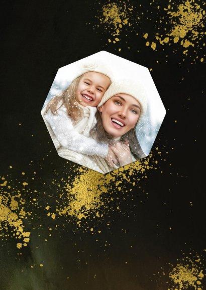 Kerstkaart diamantvorm goud en goudspetters met eigen foto  2