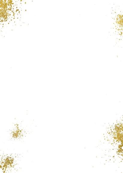 Kerstkaart diamantvorm goud en goudspetters met eigen foto  Achterkant