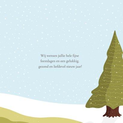 Kerstkaart dieren in de sneeuw illustratie 3
