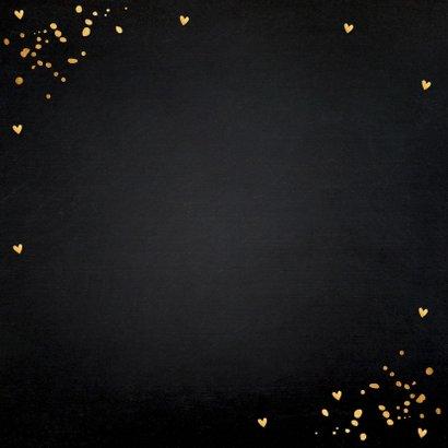 Kerstkaart donker goud typografie confetti 2