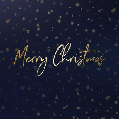 Kerstkaart donkerblauw goudlook met sterren en foto's 2